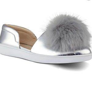 🎄3 for 2🎄 Nine West Leah Pompom Flat in silver